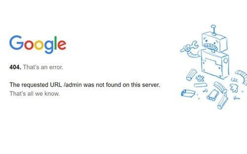 error 404 en google