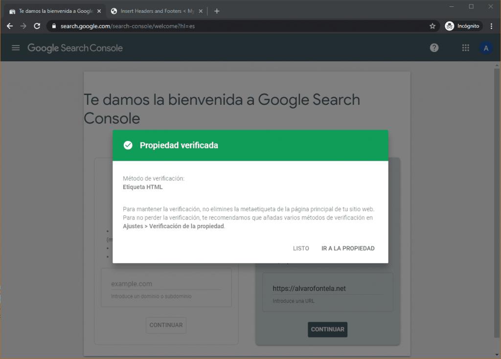 Verificación de Search Console mediante Analytics