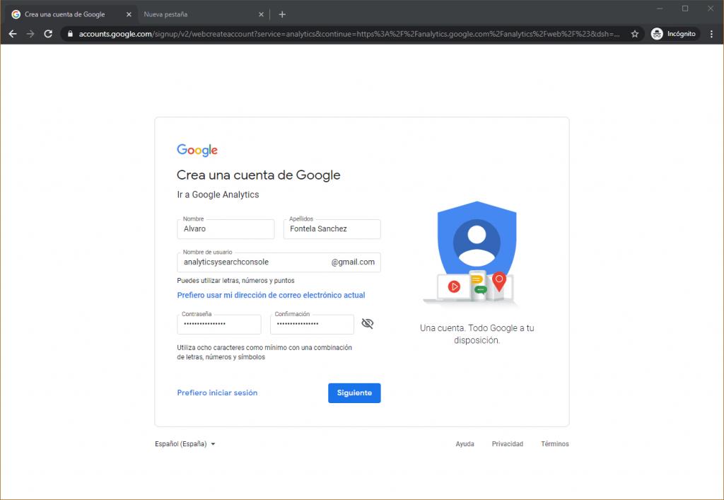 Creación Google analytics