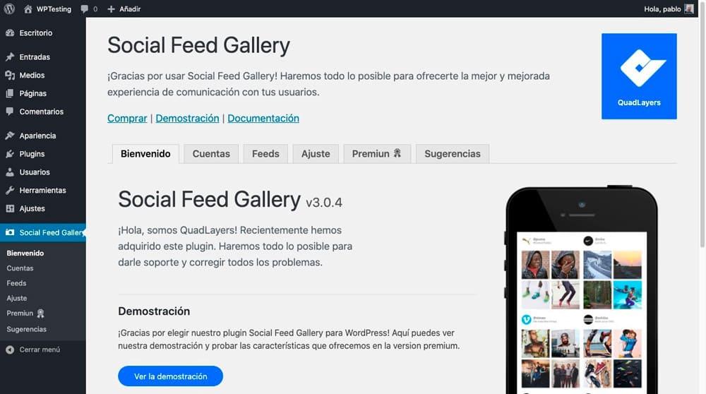 social feed gallery ajustes