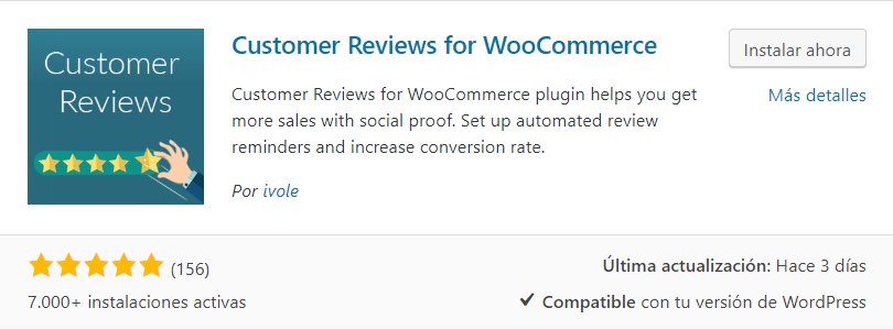instalar customer reviews for woocommerce plugin testimonios wordpress