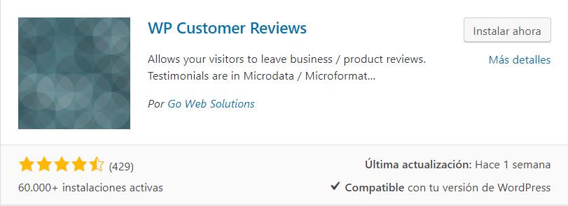 instalar wp customer reviews plugin testimonios wordpress
