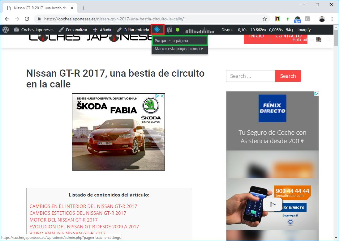 Captura sobre purgar página en LiteSpeed Caché