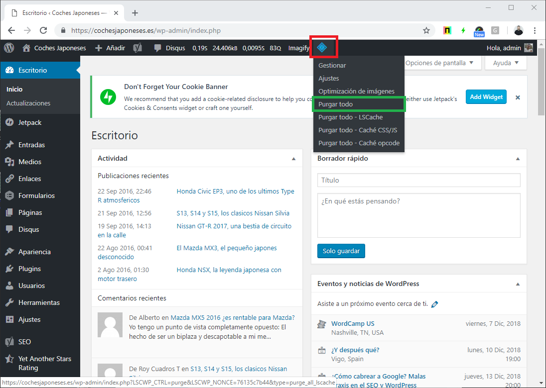 Captura sobre purgar cache en LiteSpeed Cache