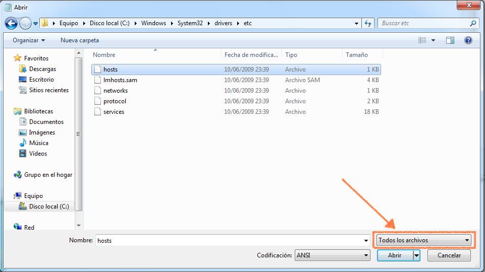 modificar hosts windows