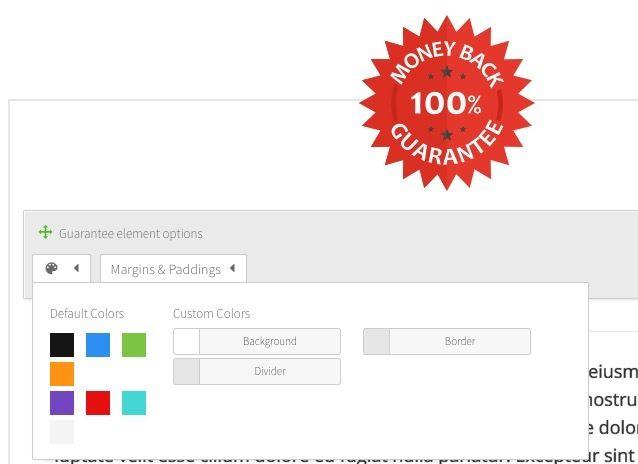 Sello de garantía en Thrive Content Builder