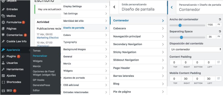Menú WordPress: opción Personalizar - Apariencia
