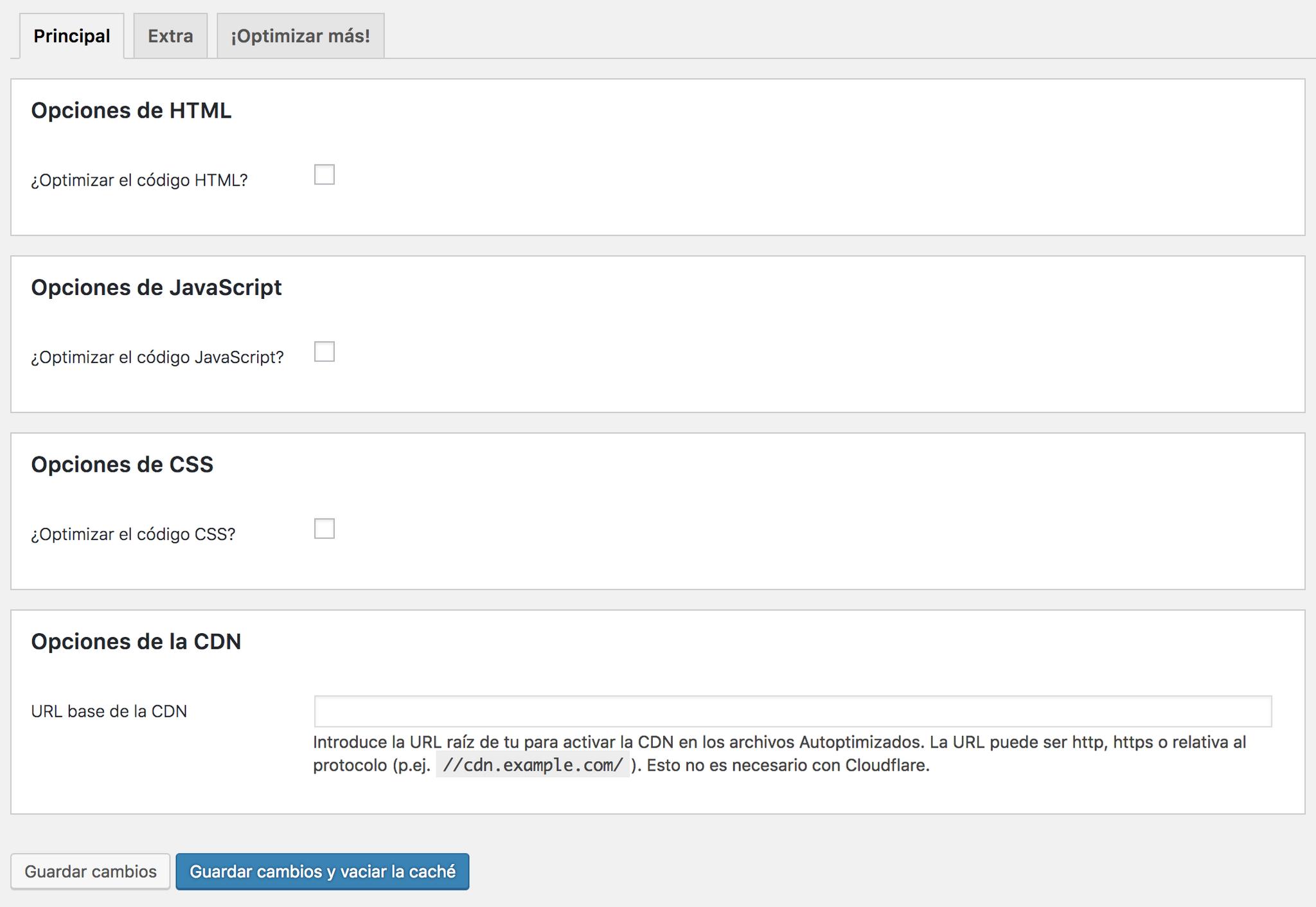 Sección para combinar y optimizar códigos HTML, CSS y JavaScript