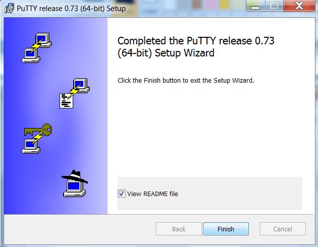 finalizar instalación putty