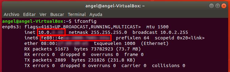 direccion IP terminal ifconfig resultado