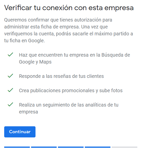 Google My Business negocio verificado